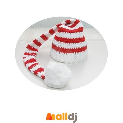 美国cutie knitting 手工编织婴儿长尾帽red white