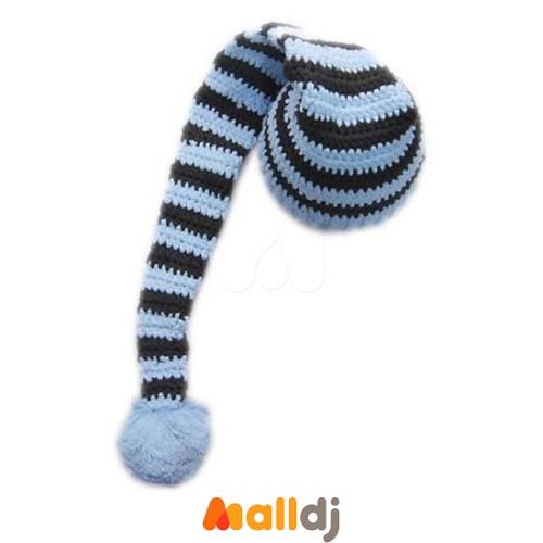 美国cutie knitting 手工编织婴儿长尾帽baby blue brown