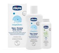 Chicco 寶貝嬰兒洗髮 沐浴露200ml~溫和不流淚配方x2入 細緻爽身粉x1入